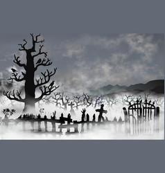 spooky old graveyard inside white fog clouds vector image