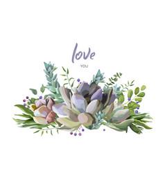 Succulent cactus plants card design vector