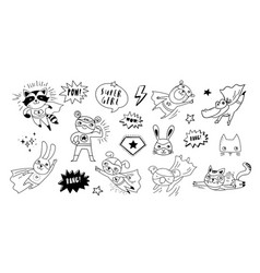 Superhero cute hand drawn animals cat dog panda vector