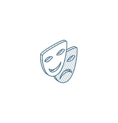 theatre mask isometric icon 3d line art technical vector image