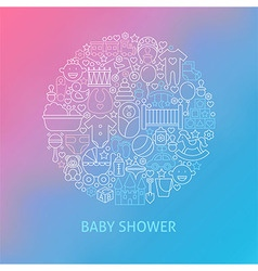 Thin Line Baby Shower Icons Set Circle Concept vector