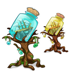 Trees decorated bank with ship marine concept vector