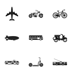 Trip on transport icons set simple style vector image