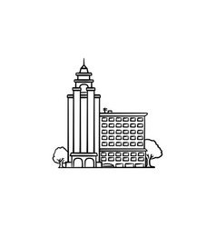 University building hand drawn outline doodle icon vector
