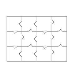 unusual blank jigsaw puzzle 12 pieces simple line vector image