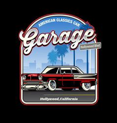 vintage shirt design american classic car vector image