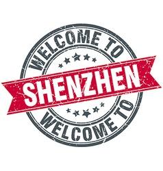 welcome to Shenzhen red round vintage stamp vector image