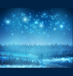 winter snow background with night stars and trees vector image
