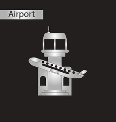 Black and white style icon plane takeoff airport vector