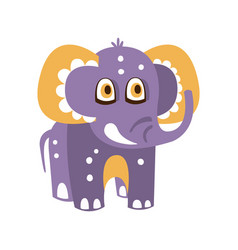cute cartoon baby elephant character front view vector image vector image