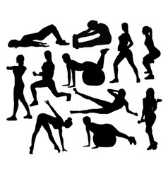 fitness exercises activity silhouettes vector image vector image