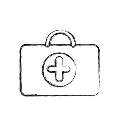 profile suitcase healthcare with hospital symbol vector image vector image