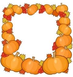 Pumpkins frame background full autumn border vector