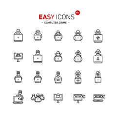 easy icons 44a computer crime vector image