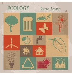 Ecology flat retro icons vector image vector image