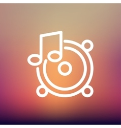 Music Tambourine thin line icon vector image
