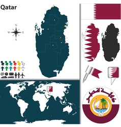 Qatar map world vector image vector image
