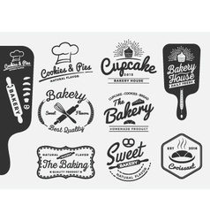 Set of bakery and bread logo labels design vector image