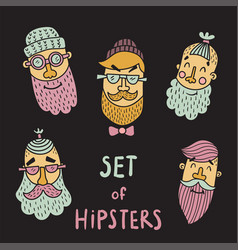 set of hipsters vector image vector image