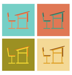 assembly flat icons school desk chair vector image