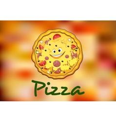 Full round cartoon pizza vector image vector image