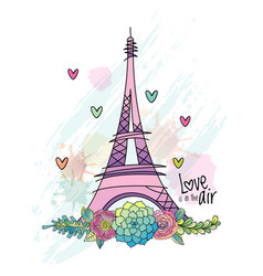 hand drawn flower love card eiffel tower vector image
