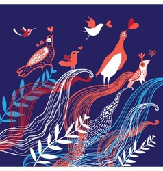 Natural background with birds in love vector image vector image