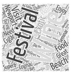 Newport beach food and wine festival word cloud vector