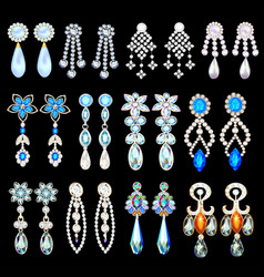 set of jewelry earrings with precious stones vector image
