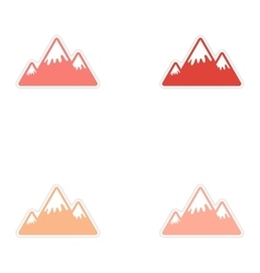Set of stickers canadian mountain on white vector