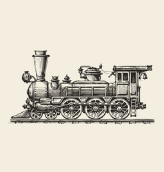 vintage locomotive hand-drawn retro train sketch vector image vector image