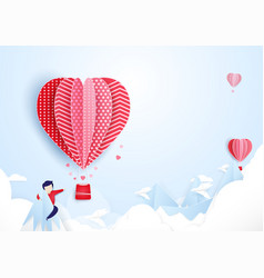 young man finding love concept hot air balloons vector image