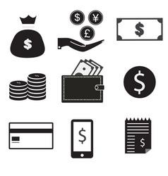 9 icon set dollar bag money on hand money coin vector image