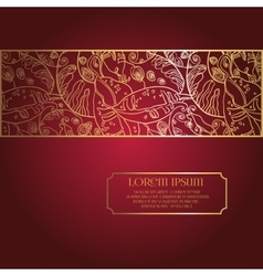 Deep Red Background with Lace Frame Ornament vector image