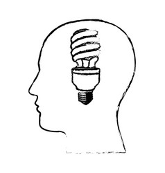 figure man with save bulb in the brain icon vector image
