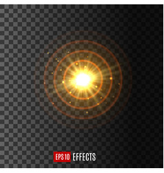 light circular shine lens flare effect icon vector image