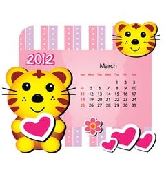 march tiger calendar vector image vector image