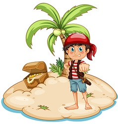 Pirate and island vector image vector image