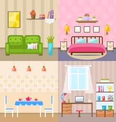 Set Room Interiors with Furniture Flat Icons vector image