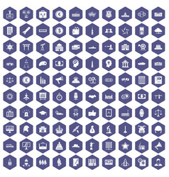 100 government icons hexagon purple vector