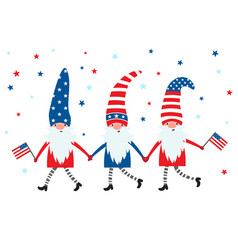 4th july usa patriotic gnomes in colors of vector image
