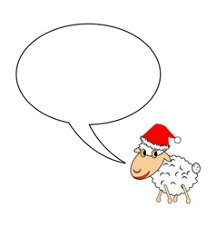 A Christmas cartoon sheep with a speech bubble vector image