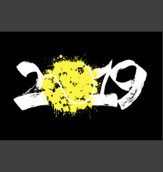 abstract number 2019 and a tennis ball from blots vector image