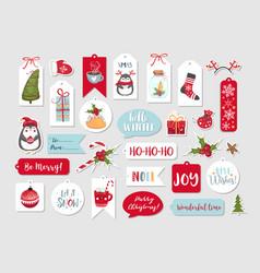 Abstract printable tags collection for christmas vector