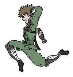 attack ninja jump vector image