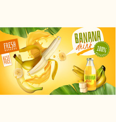 Banana drink advertising poster vector