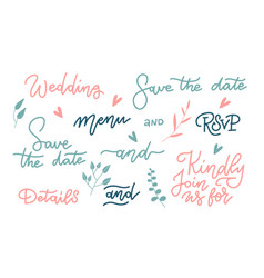 beautiful wedding letteringset special phrases vector image