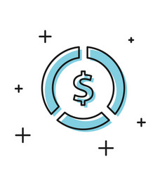 Black coin money with dollar symbol icon isolated vector