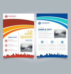 brochure template blue and red curve line graphic vector image