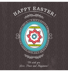 Brown greetings card with Easter egg vector image